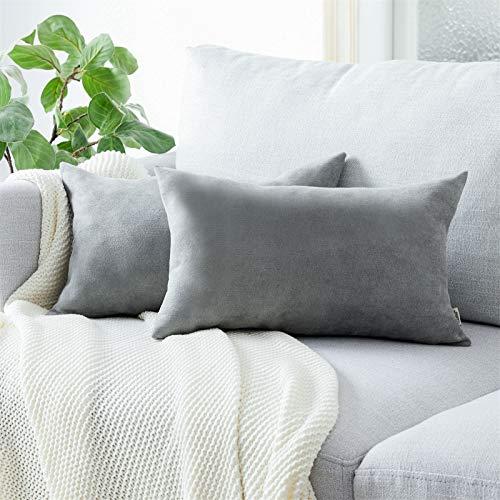 Topfinel Kissenbezüge Einfarbig Chenille Dekokissenhülle mit Verstecktem Reißverschluss für Sofa Auto Bett 2er Set 50x70 cm Fehgrau