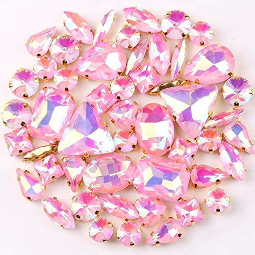 Ajuste de garra de oro 50 unids/bolsa 11 formas mezcla AB colores cristal de vidrio coser en cristales de diamantes de imitación zapatos de vestir de boda bolsos diy trim