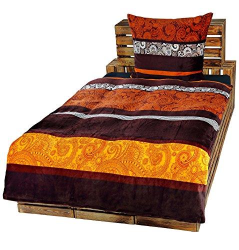 Dresscode 2-Teilige Bettwäsche Set Bett Bezug 135x200 cm x Kopfkissen 80x80 cm Teddy PLÜSCH Coral Fleece Cashmere Touch Super Soft Gold Bronze Braun Ornamente