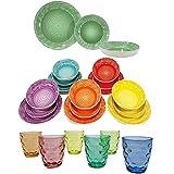 Servizio di Piatti per 6 o 12 Persone da tavola con Bicchieri Colorati Moderni Eleganti New Multicolori per tavola Cucina casa -Servizio 6 Persone