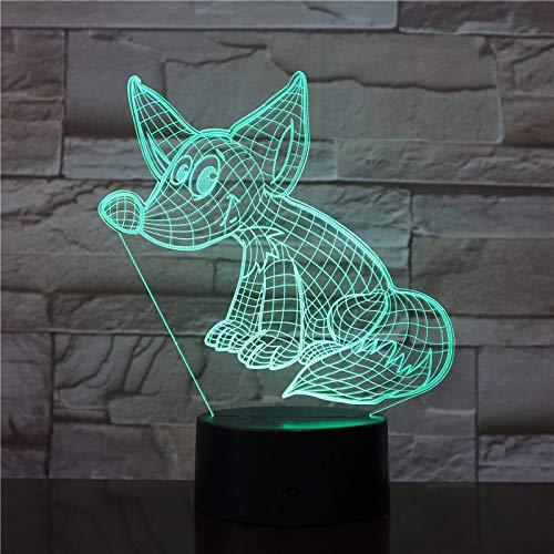 TYWFIOAV 7 Colores cambiantes decoración novedosa visión 3D luz Nocturna Fox Modelado lámpara de Mesa Dibujos Animados Lamparas Dormitorio lámpara de iluminación de Regalo para niños
