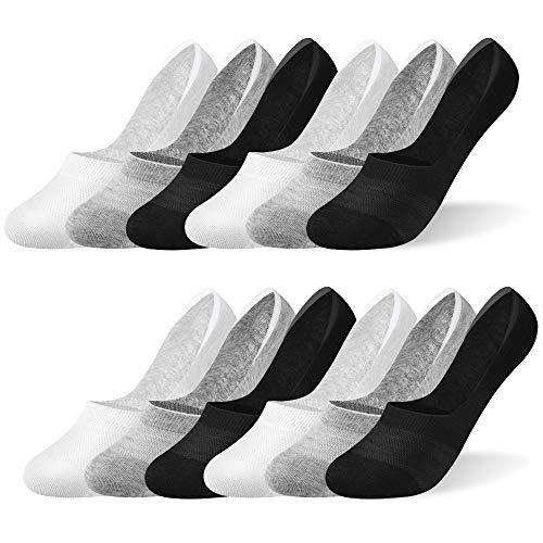 Rovtop 12 Pares Calcetines para Hombre y Mujer - Calcetines de cortos Invisibles de Malla Transpirable con Antideslizante de Silicona Negro/Blanco/Gris Claro