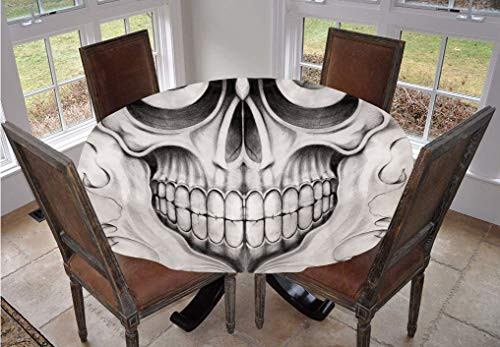 Angel Bags Day Of The Dead Decor Round Tablecloth,Scary Skull Face Angry Expression Festive Art Image Polyester Table Cover,70 Inch,for Indoor and Outdoor Events Black White and Light Grey