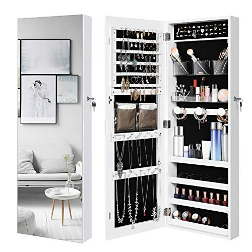 YITAHOME Jewelry Armoire Cabinet Lockable Jewelry Organizer WallDoor Mounted with Frameless Mirror and Large Storage CapacityWhite