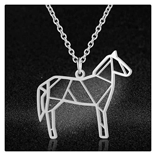 chenyou Collar con colgante de libélula, 100% acero inoxidable, collar con colgante de caballo, collar para mujer, diseño de abeja, lobo, joyería de moda (color: 40 cm, tamaño: 1)