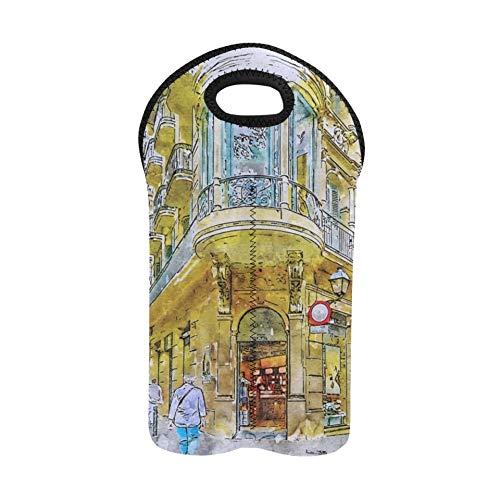 Utility Tote Barcelona Street Gotisches Viertel Spanien Architektur Weinflaschentasche Doppelflaschenträger Schnaps-Tragetasche Dicker Neopren-Weinflaschenhalter Schützt Flaschen