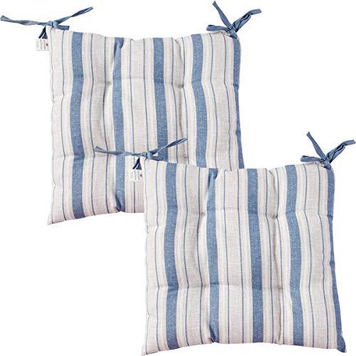 Viste tu hogar Pack 2 Cojines para Silla, 40x40CM, Relleno de Algodón con Diseño de Rayas, Ideal para la Decoración de Cocina y Sala, Color Azul, Fabricado en España