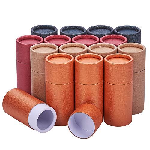 BENECREAT 16Pcs 10ml Tubes en Carton Kraft De Couleur Mixte Conteneurs Ronds en Papier Kraft pour Crayons Caddy À Thé Café Artisanat Cosmétique Emballage Cadeau