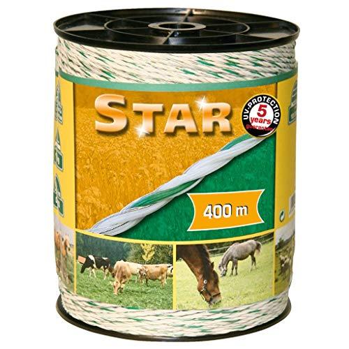 Kerbl Corde pour clôture électrique pour animaux Star 400m Blanc et vert 44528
