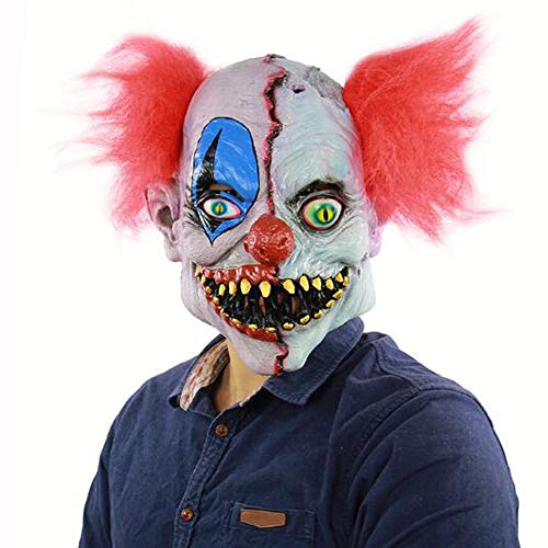 S&D Halloween Horror Rotten Face Clown Maske, Ostern Thriller Bloody Atmosphere Rollenspiele Scary Dress Up Ghost Face Requisiten Kopfschmuck Haunted House Escape to Dress Up