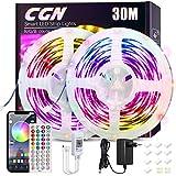 Tiras LED Bluetooth 30M, CGN RGB 5050 Tira de Luces LED Iluminación Kit de LED Strip Multicolores Musical Inteligente con Control Remoto y APP Gratis para Decoración Interior Navidad