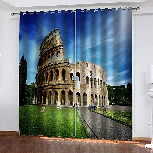 RJYHJL Cortina Salon Moderna Teatro de la Opera de Roma Ojales Opaca Cocina Dormitorio Moderno Aislante termica Ventana habitacion niño oscurecimiento 2 x A140 x L175 cm