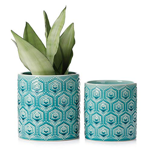 Hexagon Pattern Ceramic Pots - 5 and 6 Inch Turquoise Planters with Drainage Holes for Indoor or Outdoor Decor, Set of 2