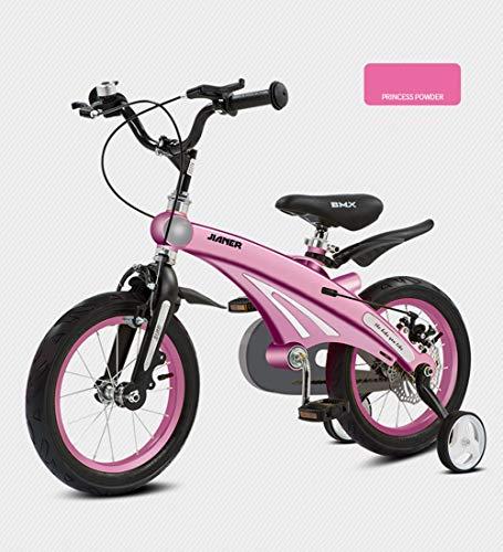 SXMXO Kinderfahrrad, Junge Mädchen Blue 12/14/16 Zoll aus Magnesiumlegierung Laufrad 2-12 Jahre Sehr leichtes Kinderfahrräder mit Stützräder und Rücktritt Scheibenbremse,16inches