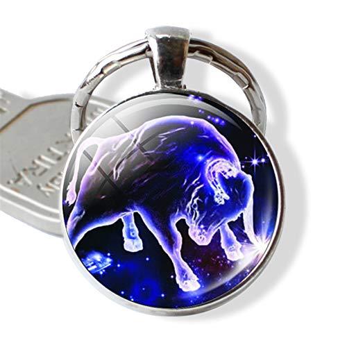 Schlüsselring 12 Constellations Constellation Schlüsselanhänger Sternzeichen Keychain Anhänger Schmuck Waage Widder Leo (Color : Taurus)