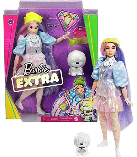 Barbie Extra Doll #2 in Shimmery Look with Pet Puppy, Pink & Purple Fantasy Hair, Layered Outfit & Accessories Including Neon Beanie, Multiple Flexible Joints, Gift for Kids 3 Years Old & Up