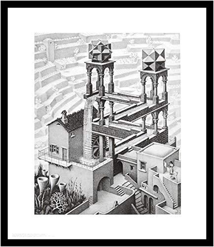 Germanposters MC Escher Poster Kunstdruck Bild Wasserfall im Alu Rahmen in schwarz 71x61cm