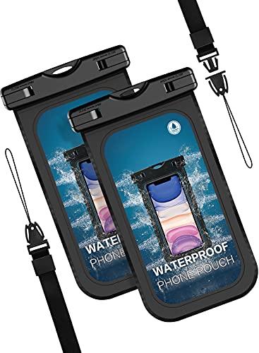 Wasserdichte Handyhülle IPX8 Wasserfeste Handytasche sanddichte Handyhülle mit Dichtungsschloss für Schwimm, Baden, 6,8 Zoll für iPhone 12 Pro Max 11 8 8Plus 7Plus, Galaxy S20 S10 S9 (2 stück) Schwarz