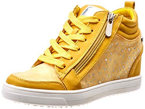 Zapatos mujer amarillos altos con cremallera