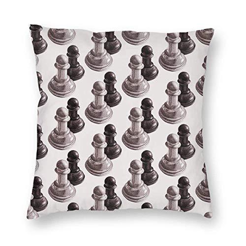 EINST - Funda de cojín, diseño de peones de ajedrez, color blanco y negro