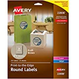 Avery 2.5' Round Labels -- Make Homemade Jar Labels, Gift Tags and Thank You Tags, 225 Kraft Brown Labels (22808)
