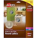 Avery 2.5' Round Labels for Laser & Inkjet Printers, 225 Kraft Brown Labels (22808)