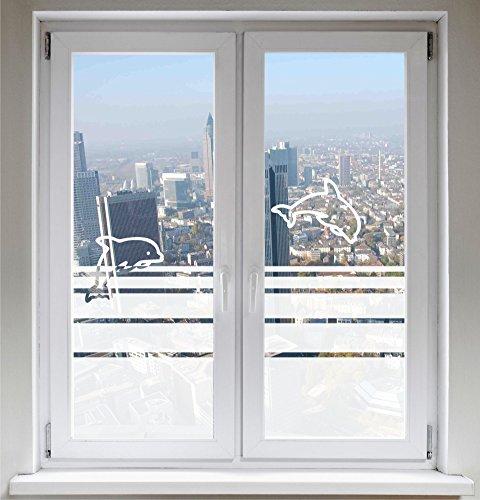 INDIGOS UG Fensterfolie Sichtschutzfolie Glasdekorfolie Delfine satiniert Blickdicht ORACAL® - 1200mm Breite x 500mm Höhe - auch mit Individueller Breite