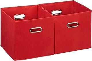 A-Generic Ensemble de 2 boîtes de Rangement sans Couvercle avec poignée Pliante Panier de Tissu carré 30 cm Carton de Poly...