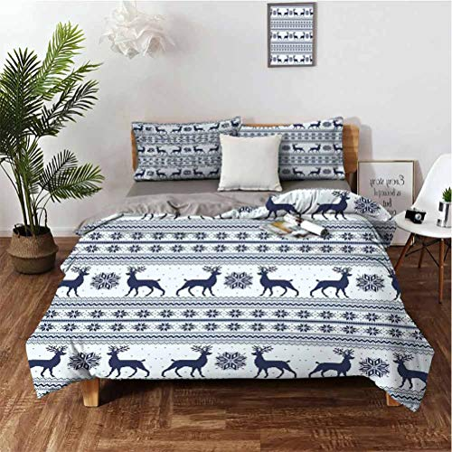 Nordic Stylish and Exquisite Home Decoration Design 3-Piece Set Pixel Art Style Christmas Pattern with Reindeer and Snowflake Motifs Easy to Install Breathable and Heat-dissipating Sheets Very Comfor