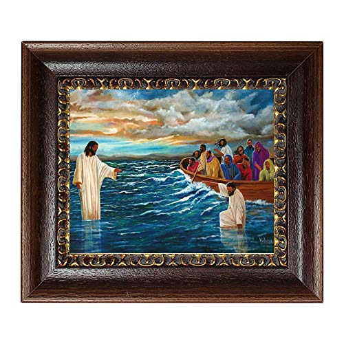 The Art Depot Have Faith: Peter Walking on Water by Kolongi Brathwaite (10x12 inches - Framed African American Art) (Brown and Cream)
