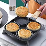 Medical Stone Breakfast Pan,Nonstick 4 Section Frying Pan And Egg Frying Pan 4-Cup, Divided Frying...
