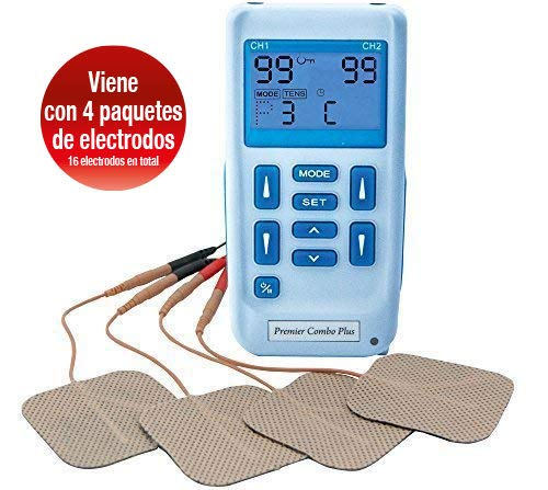 Premier Plus EM6300P Electroestimulador Digital Masaje EMS TENS, Pantalla LCD, 2 Canales, 16 Electrodos Autoadhesivos Totalmente Recargable Con 24 Programas de Preajuste