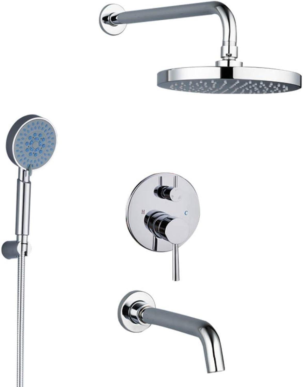 Mzdpp Bathroom Shower Faucet Round Abs Shower Head Bath Shower Mixers Tap Set with Handshower Wall Mount Shower System Arm