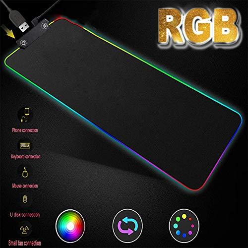 Muismat Gaming RGB,Dubbele Schakelaar Toetsenbord Mat 1.8 M Data Kabel Extra Grote Toetsenbord Muismat Met USB Functie 800X300 (mm) Usb Zwart