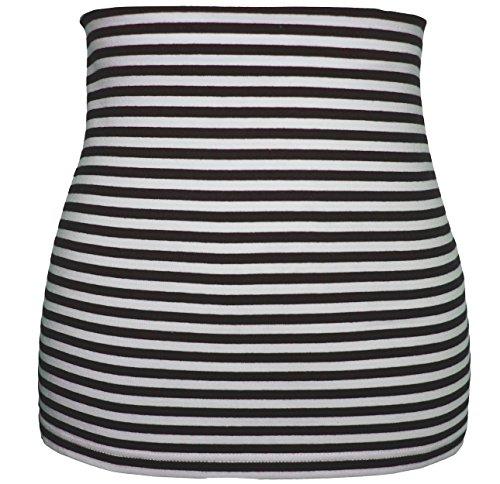 Belldessa 3 in 1 : Jersey - Nierenwärmer Frau L - Streifen braun weiß - Shirt Verlängerer / modisches Accessoire - / Bauchwärmer / Bauchband - 100 % Baumwolle