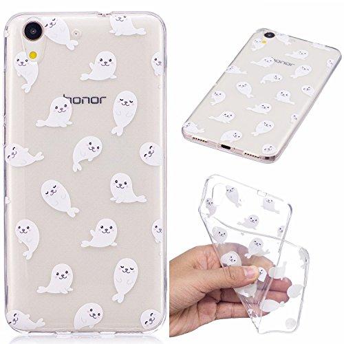 YYhin teléfono Cubierta para Funda Huawei Honor 5A/Y6 II(5.5')-Transparente con patrón Ultra Delgado a Prueba de Golpes Suave Gel TPU de Silicona Phone Case(CH12/León Marino Blanco)