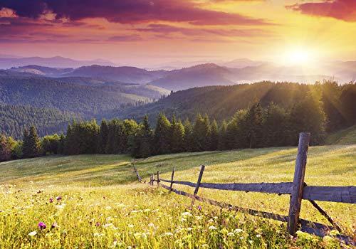 decomonkey Fototapete Landschaft Natur 350x256 cm XL Tapete Fototapeten Vlies Tapeten Vliestapete Wandtapete Gebirgee Wandbild Wand Schlafzimmer Wohnzimmer Gebirge