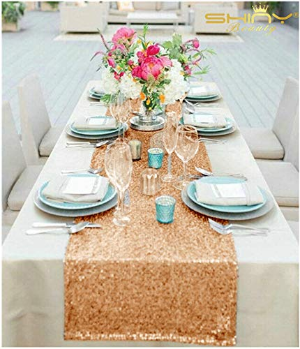 Rose Gold Sequin Table Runner On Sale (14inx72in, Rosegold)