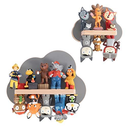 BOARTI Kinder Regal Wolken 2er Set in Grau TÜV/GS-Zertifiziert - geeignet für die Toniebox und ca. 16 Tonies - zum Spielen und Sammeln
