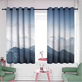 Waynekeysl Grommet Window Curtain Panel Mountain Foggy Scenic Morning in Rock Mountain Region in Northern Hiking Climbing Ice Photo W72 Xl42 Soft Blue