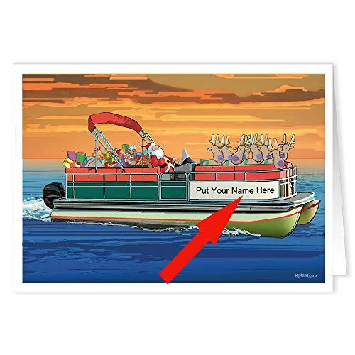 Pontoon Boat Sunset Custom Boating Christmas Cards - 24 Personalized Nautical Cards (Pontoon Boat)
