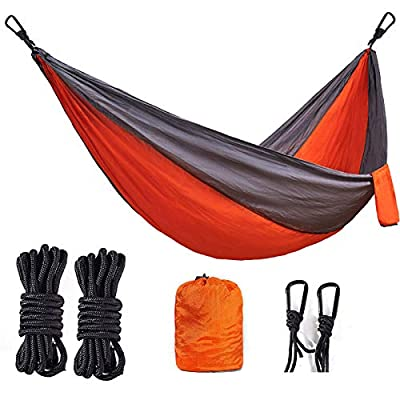 BEMAIN Camping Hammock Outdoor Lightweight Double & Single Portable Nylon Parachute Hammocks for Hiking Travel Beach Yard Gear Includes Straps and Steel Carabiners(Orange/Light Grey, Full)