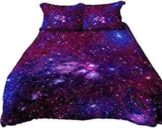 Anoleu Printed Purple Galaxy Bedding, Luxury Breathable & Extremely Durable Cotton Galaxy Duvet Cover Set 3 PCs, Twin/Full/Queen/King (Purple 2254-2, Queen)