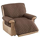 Collections Etc Reversible Quilted Furniture Cover Chocolate/TAN Jumbo Recliner
