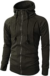 Men's Fashion Fit Full-Zip Hoodies, Mens Casual Slim Fit Hoodie Jackets Double Zipper Closer with Pockets