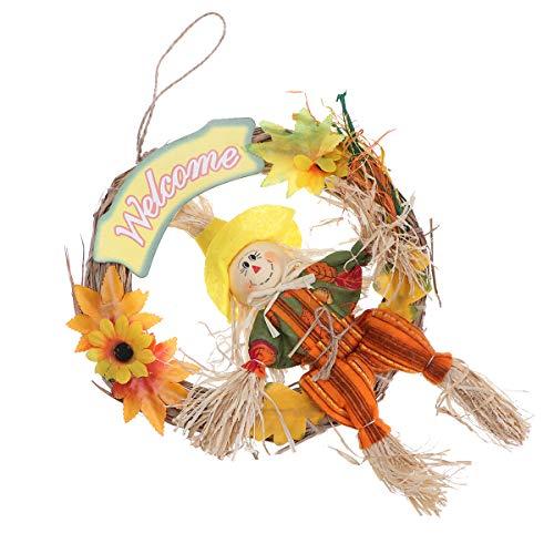 VOSAREA Vogelscheuche Kranz hängende Vogelscheuche Ornament Vogelscheuche Girlande Halloween Thanksgiving Dekor Herbst Herbst Ernte Dekoration für Party Schule Home Bar Garten (klein/männlich)