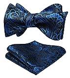 HISDERN Paisley Jacquard Wedding Party Self Bow Tie Pocket Square Set Talla unica Azul / Negro
