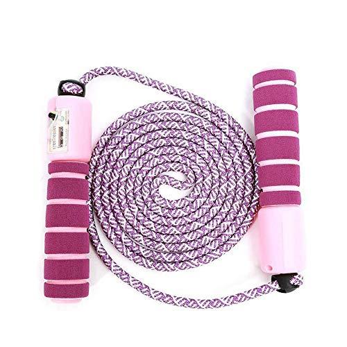 Namgiy Springseil Mit Digital Zähler für Kinder, Baumwolle Rope Anti-Rutsch Griffe Länge Einstellbar Seilspringen für Sports Training