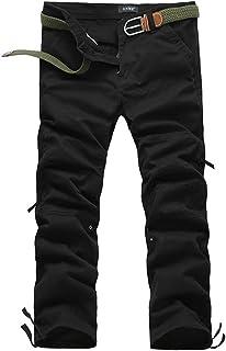 ミリタリー カーゴ パンツ サイドジッパー ポケット 【DauStage】 選べる 3色 6サイズ タクティカル ワーク カジュアル チノパン (ブラック 34(88cm))