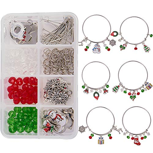 SUNNYCLUE 1 Box DIY 6PCS Christmas Expandable Wire Charm Bracelet Jewelry Making Starter Kit Include 2.6inch(65mm) Blank Adjustable Bangle Charms Beads Jewelry Findings for Women Girls, Instruction
